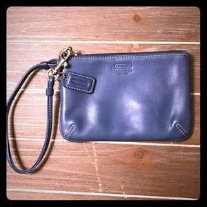COACH leather wristlet in light blue